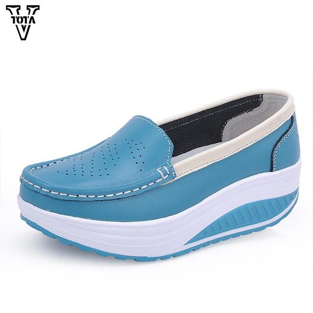 VTOTA zapatos mujer Casual zapatos de mujer cuñas plataforma suave mocasines marca mujer mocasines zapatos ocasionales respirables X728