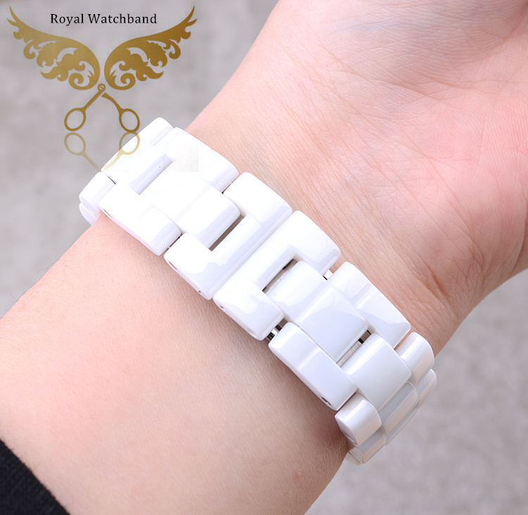 ФОТО 7.5mm/6mm Available New High Quality White Diamond Ceramic Watch Band Bracelet Fit J12 Men Lady Watch