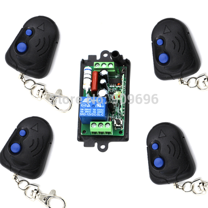 New RF Wireless 220V 110V Remote Control Switch 1CH Interruptor 1Receiver+4Transmitter,315/433 MHZ Free Shipping new dc12v 10a mini 1ch rf wireless remote control 4 receiver 4 transmitter 315 433 mhz white black remote control with abcd key