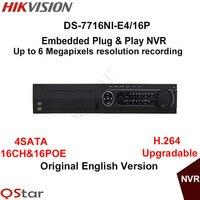 Hikvision Оригинальная английская версия DS 7716NI E4/16 P 16CH встроенный Plug & Play NVR 16PoE 4 SATA H.264 6MP подключения С 16 IP Камера