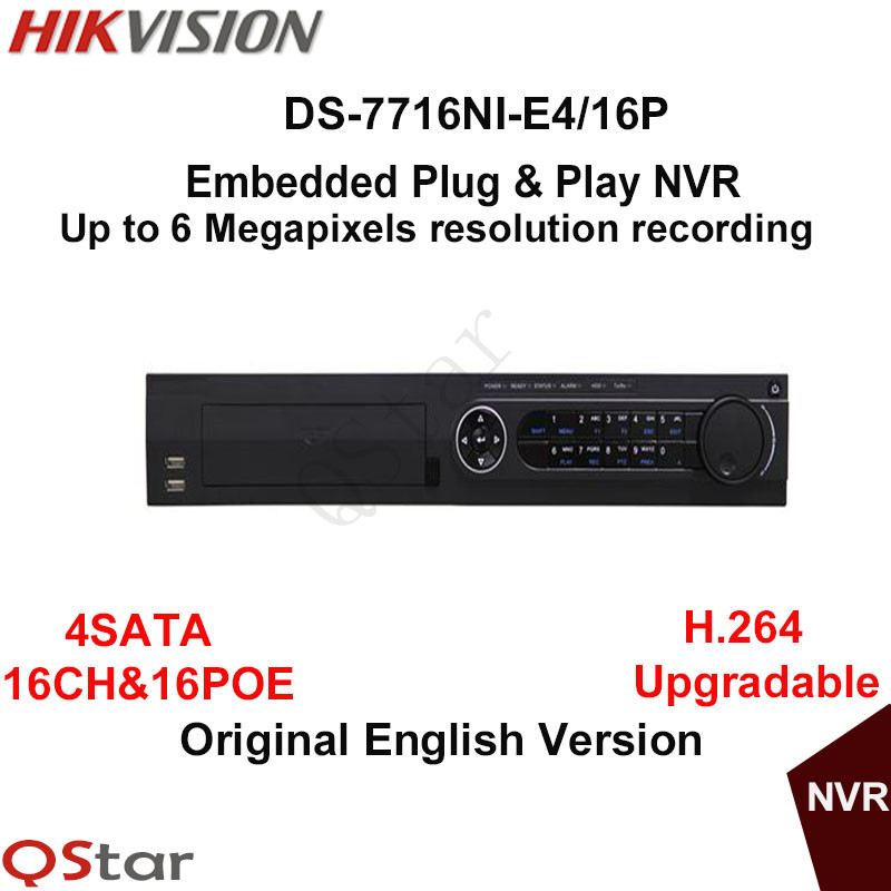 цена Hikvision Original English Version DS-7716NI-E4/16P 16CH Embedded Plug&Play NVR 16PoE 4SATA H.264 6MP connect with 16 IP Camera