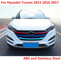 Car styling ABS and Stainless Steel paint in the grille decorative strip bright For Hyundai Tucson 2015 2016 2017