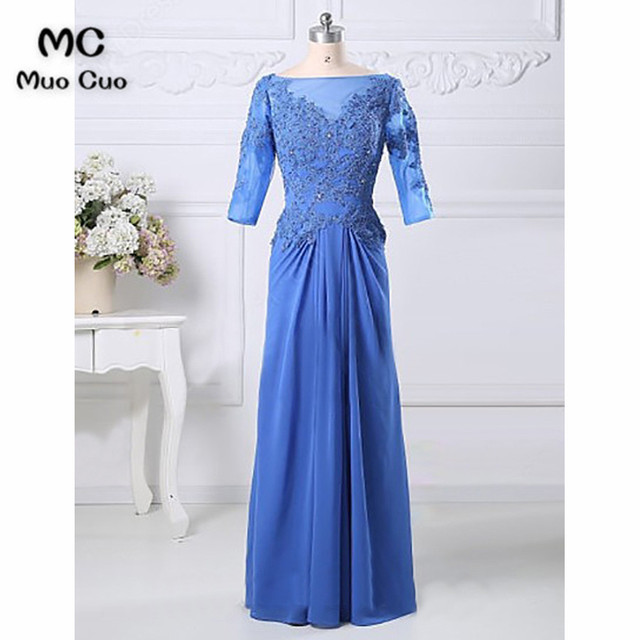 f02b25f3f18 2018 A-Line 3 4 Sleeves Royer Blue Lace dress for graduation mother of the bride  dresses for weddings with Ruches