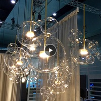 LukLoy Nordic Glass Bubble LED Pendant Lights Creative Mickey Dining Room LED Pendant Lamp Showcase Bar Hanging Lighting Gallery