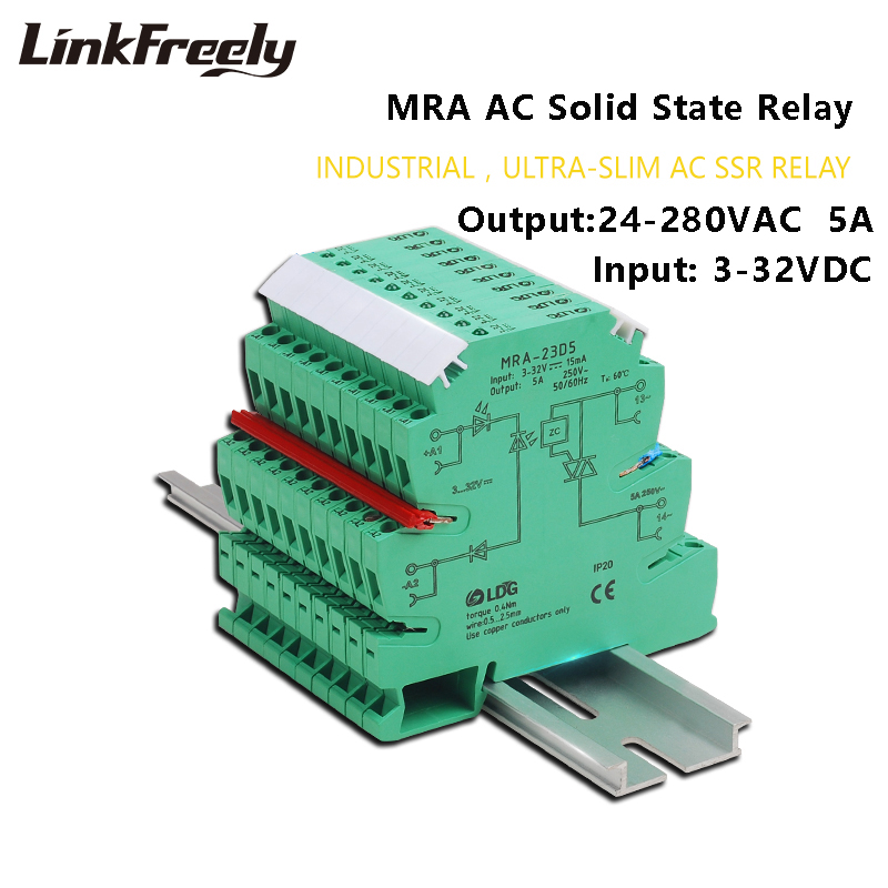 MRA 23D5 10pcs Mini Intelligent Ultra thin SSR Relay 5A 3V 5V 12VDC Input AC Solid