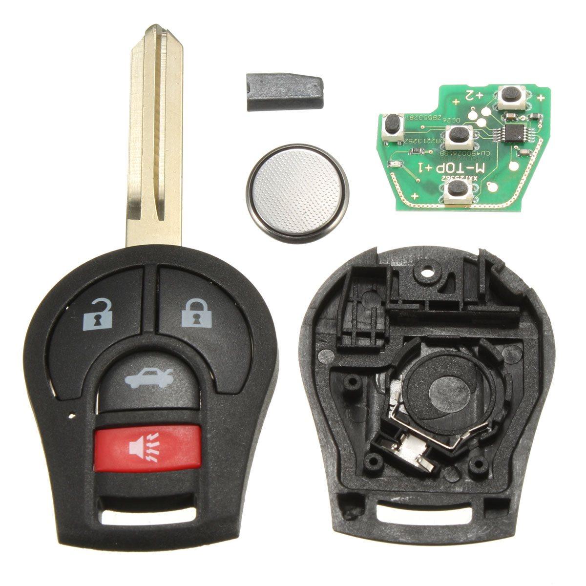 4 Bouton Uncut Télédéverrouillage Key Fob Transpondeur Puce 46 Pour Nissan CWTWB1U751