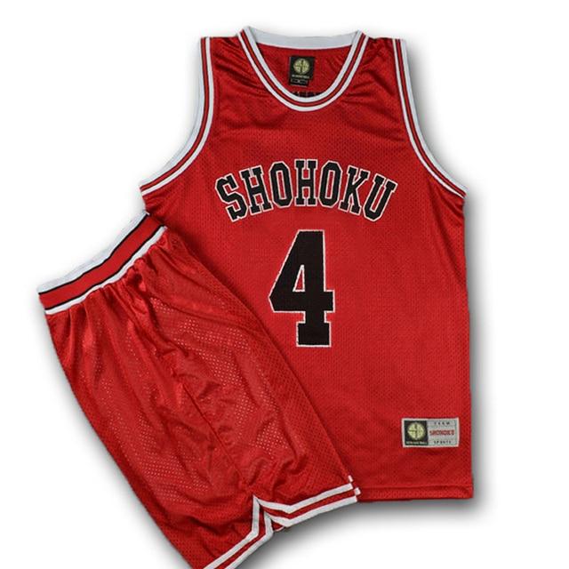 ea37c1f3d34 Anime Slam Dunk Cosplay Costume SHOHOKU Akagi Takenori Jersey NO 4 Vests  Shirt+Pant New