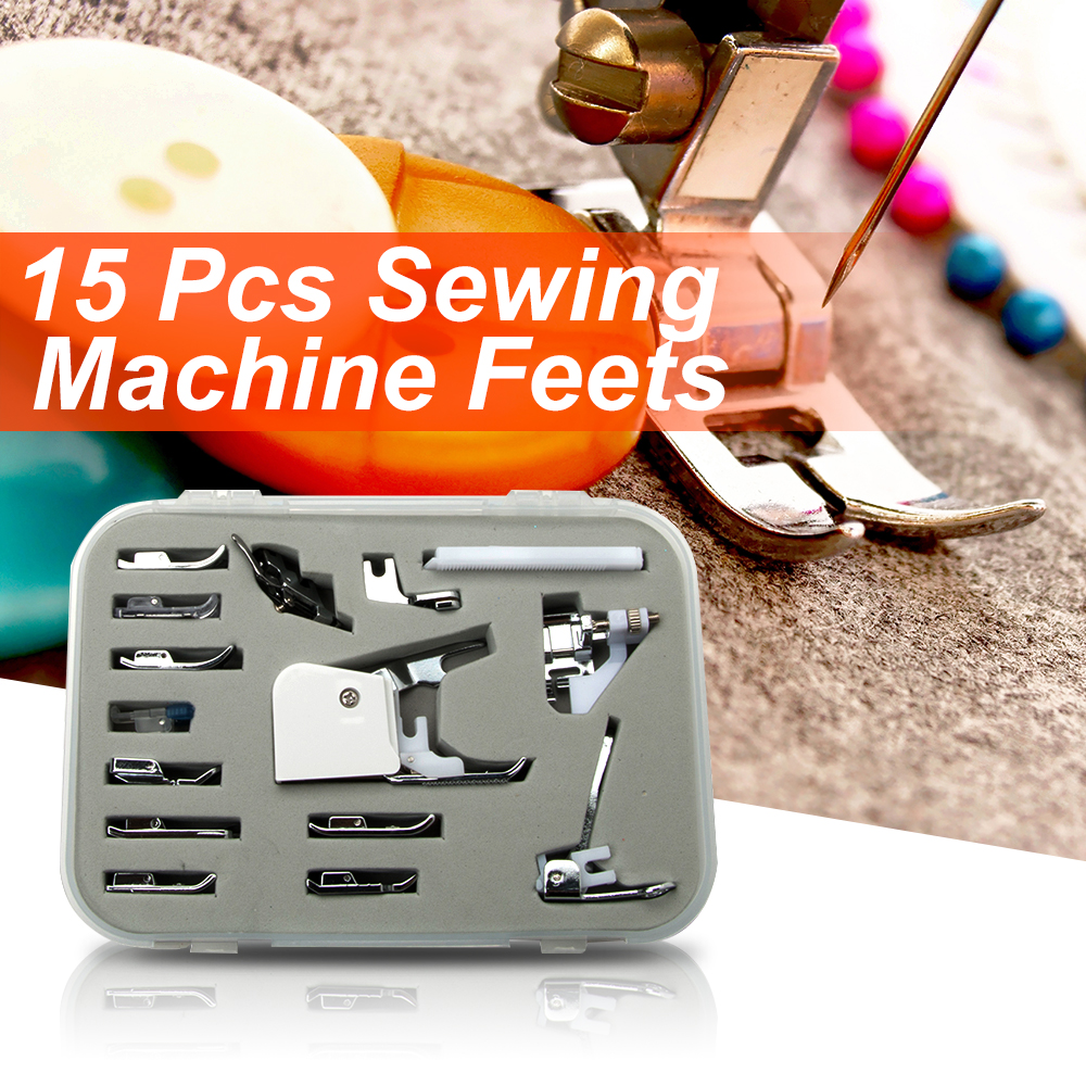 15pcs Multifunction Domestic Sewing Machine Presser Walking Foot Kaki Aksesori Kit Seni Kraf Pakaian Alat Jahit