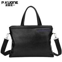 P. KUONE/распродажа, портфель из натуральной кожи, сумка для деловых людей, Высококачественная сумка на плечо, модная сумка-мессенджер, дорожна...