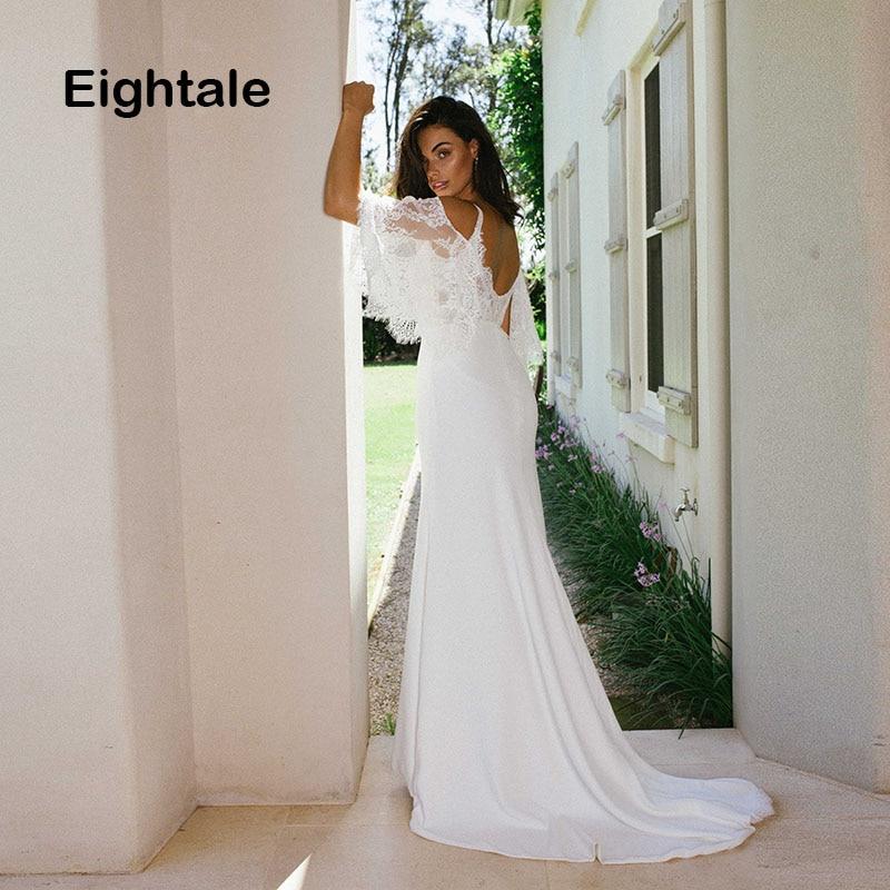 Eightale Bohemian Wedding Dresses Spaghetti Strap Short Sleeves Mermaid Bridal Dress Romatic Beach Boho Wedding Gowns