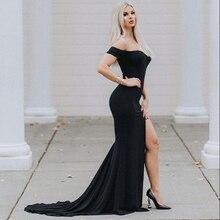 Long Train Black Off Shoulder Leg Split Front Evening Gown Dress Slash Neck Prom Dress Padded Stretch Floor Length Dress недорого