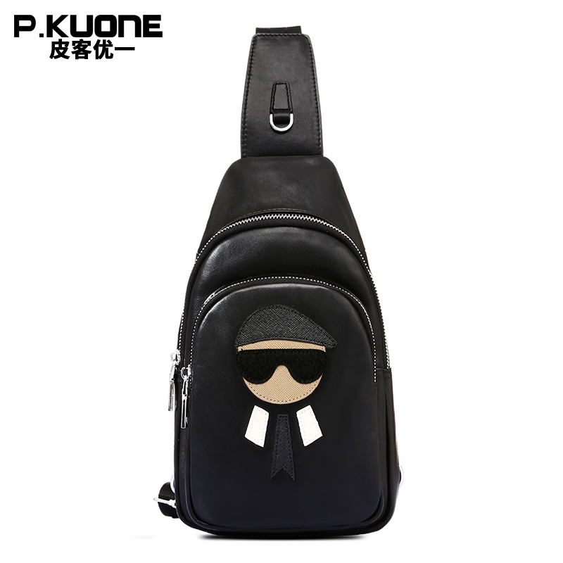 P.KUONE Genuine Leather Chest Pack Messenger Bag New Fashion Crossbody Bags For Men Single Shoulder Leisure Bag Travel Brand Bag ozuko brand dslr camera bag fashion chest pack slr camera video photo digital single shoulder bag waterproof school travel bags