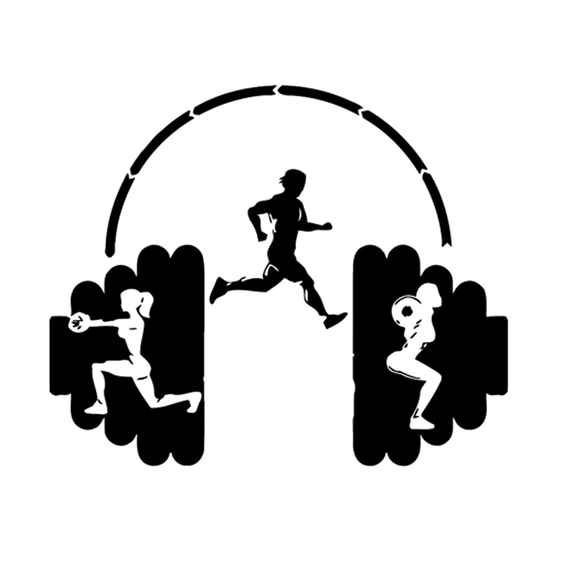16.2CM*13.4CM Interesting Fitness sport Weightlifting And jogging Silhouette Decor Decal Vinyl Car Sticker