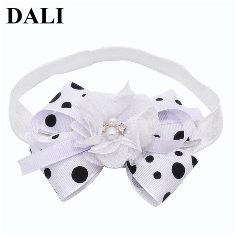 DALI babymeisje haarband hoofdband Bow Knot Dots bloem haarband witte - Babykleding - Foto 1