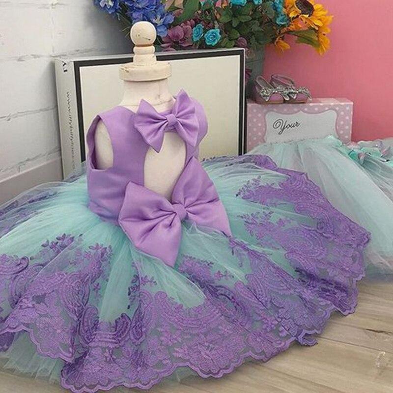 Flower     Girl     Dress   Birthday Baby Wedding Gown Summer Toddler   Girls   Party Wear Backless Bow Little Princess   Girl   Children Clothes