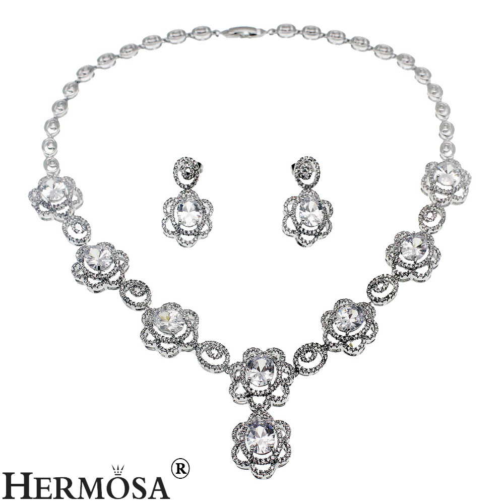 Floral Style Grace Gift Women Party Sets 925 Sterling Silver Choker Necklace Earrings Bridal Wedding Jewelry Set TZ346 rhinestoned floral wide choker