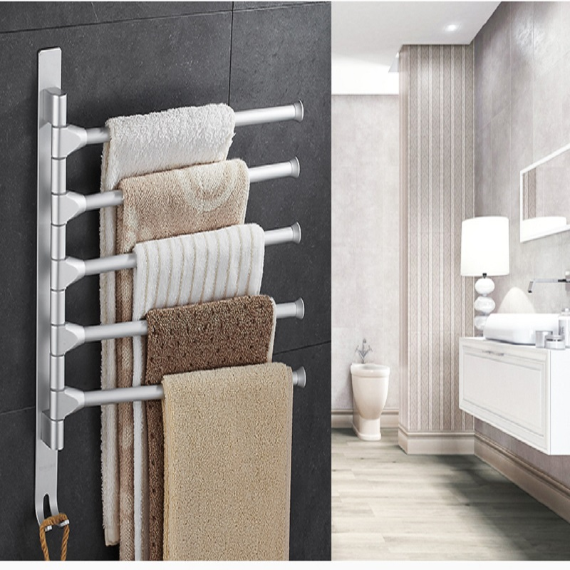 30cm Towel Rack Multi Arms Towel Hanging With Hooks