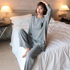 Image 5 - Joli pyjama manches longues col rond ample, joli ensemble imprimé ananas, nouveauté vêtements de nuit femmes, printemps, tenue décontracté