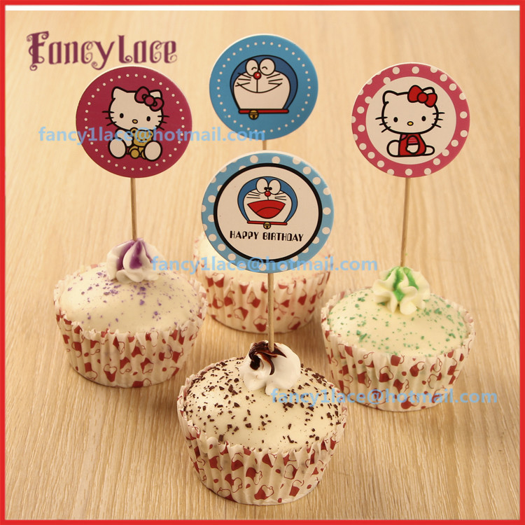 Happy Birthday Cupcake Topper ~ Happy birthday cake topper hello kitty decorations doraemon cupcake toppers