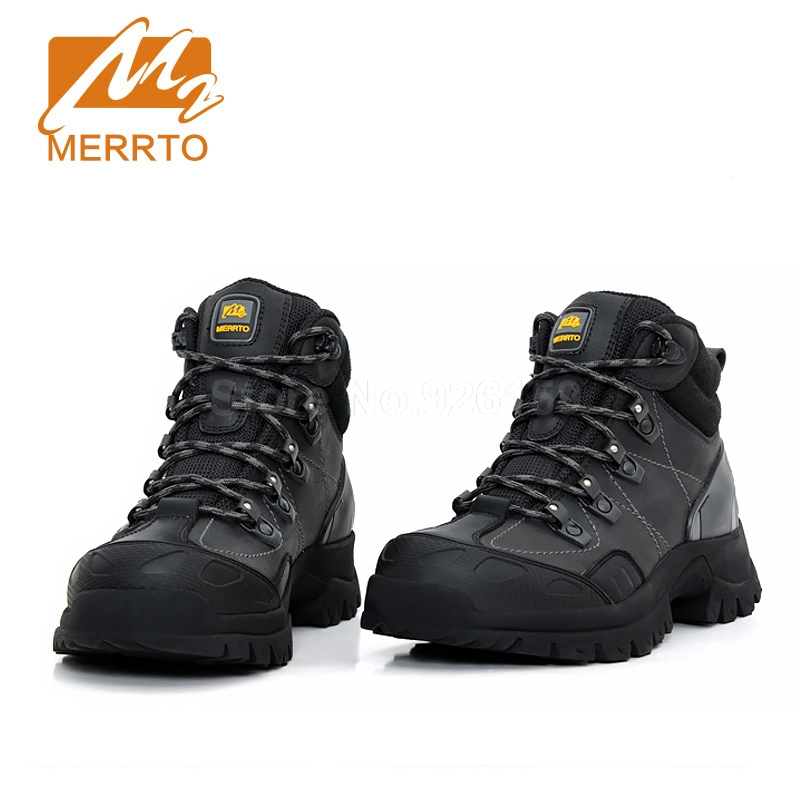Merrto Hiking Boots Mens Genuine Leather Hiking Shoes Outdoor Trekking Boots Men Sneakers Sports Shoes Winter Boots Men men winter boots plush warm hiking boots outdoor tactical trekking shoes men genuine leather waterproof ankle boots men sneakers