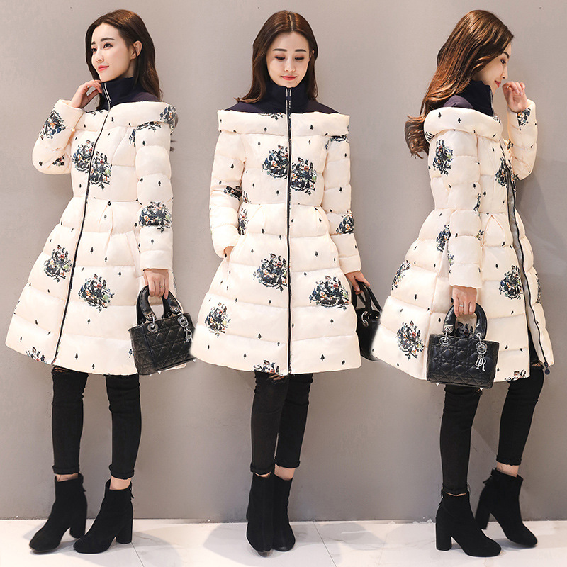 Korean Version Keep Warm Stitching Printing Large Size Long Thick   Parkas   Winter Coat Women 2017 Winter Jacket Women   Parka