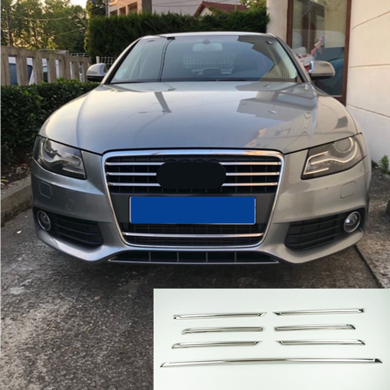 CNORICARC Car Head Middle Grille Grid Trim Strips Stainless Steel Styling Exterior Accessories Sticker For Audi