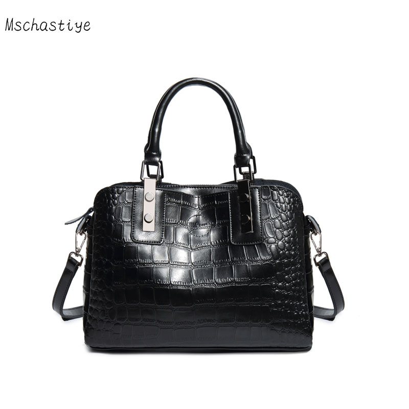 Genuine Leather Women Handbag Solid Cow Leather Women Crocodile pattern Tote Bags High Quality Female Messenger Bags Mschastiye high quality women handbags crocodile pattern leather fashion shopper tote bags female luxurious lady bags