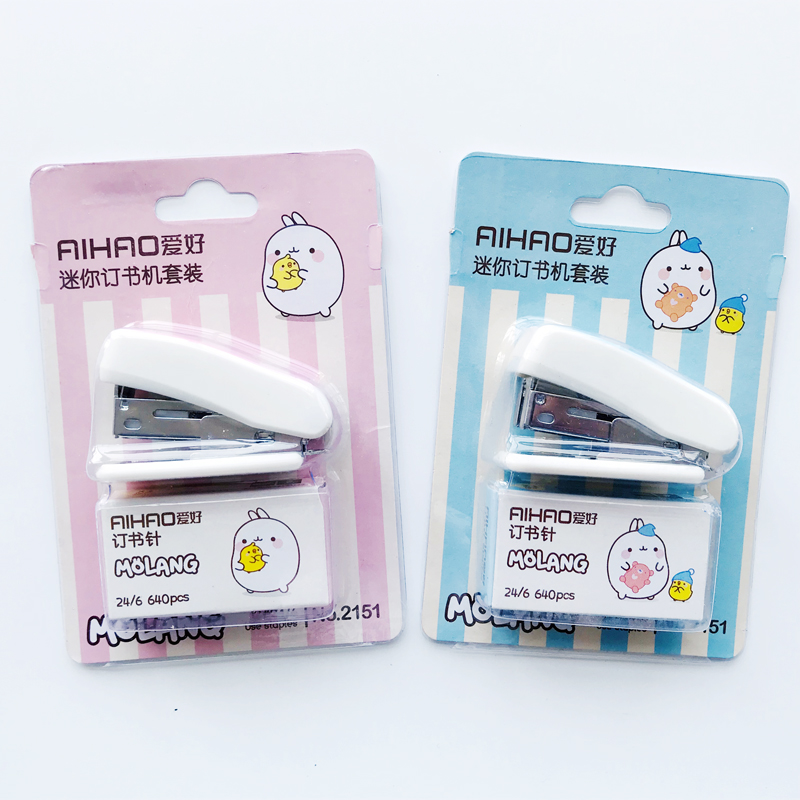 1PC Kawaii Cute Rabbit Mini Stapler Set With 1 Box Staples Office School Supply Stationery Binding Binder Book Sewer