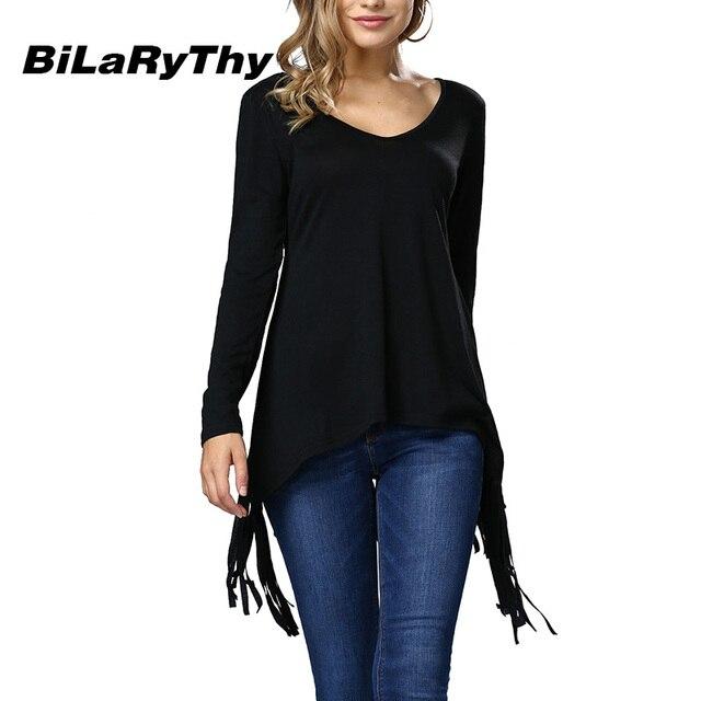 BiLaRyThy Autumn Winter Fashion Women Tops Tees Long Sleeve V Neck Irregular Tassel Hem Basic Solid Casual T Shirt Tops