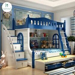 Loiuis موضة الأطفال سرير متعدد الوظائف مزيج من الكبار المهد سرير بطابقين نمط البحر الأبيض المتوسط