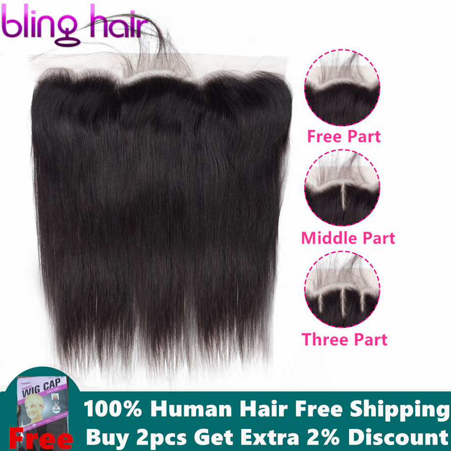 Bling Hair Peruvian Straight Human Hair Lace Frontal Closure 13x4 With Baby Hair Middle/Free/Three Part Swiss Lace Natural Color(China)