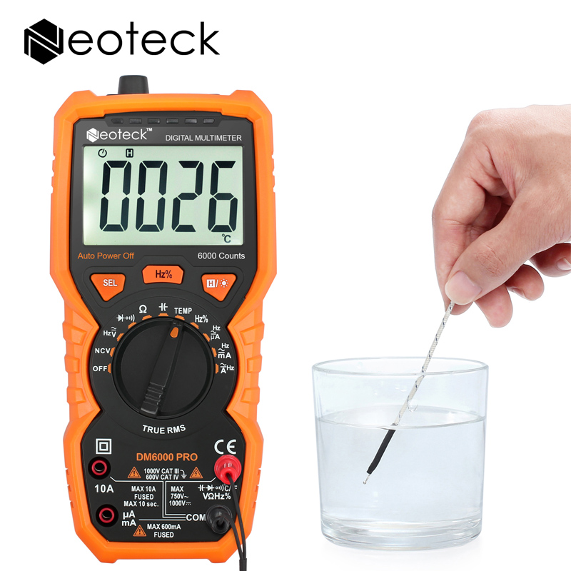 Neoteck Digital Multimeter 6000 Counts Auto Range True RMS AC/DC Voltage Current Frequency Temperature Live Line NCV Tester peakmeter pm18c digital multimeter measuring voltage current resistance capacitance frequency temperature hfe ncv live line te
