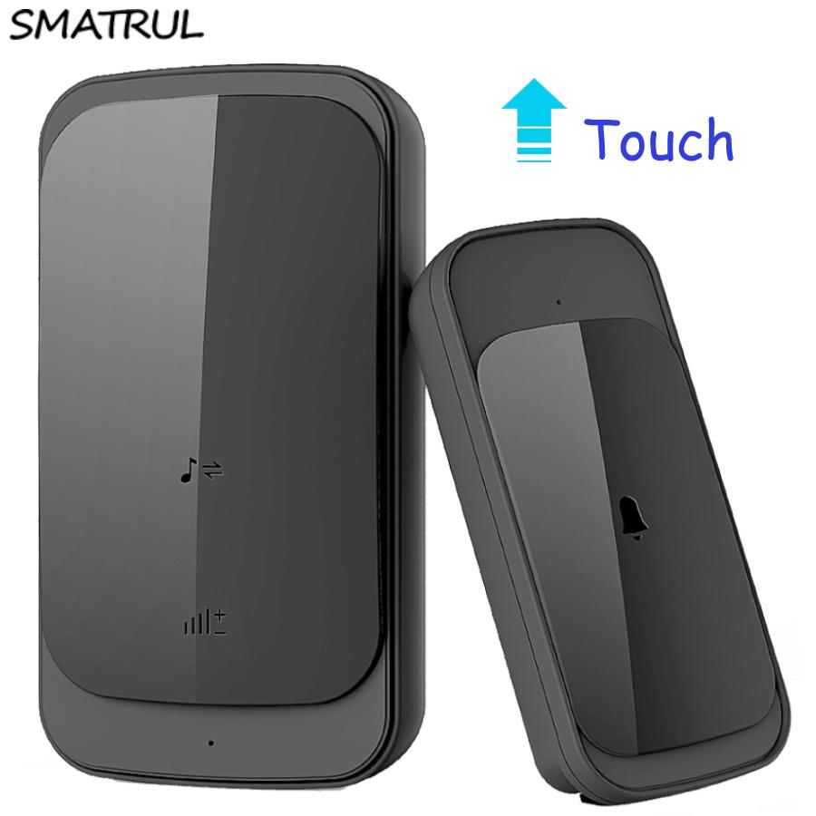 SMATRUL NEW Wireless doorbell NO BATTERY self powered waterproof LED light 51 Music 150M Remote smart Door bell chime EU Plug AC 110-220V 1 2 Button 1 2 receiver 0