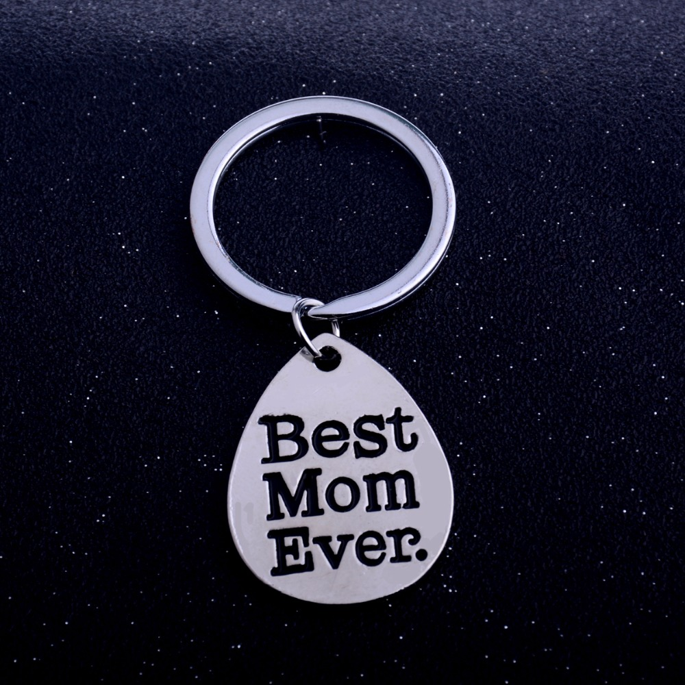 Bespmosp 12PCLot Best Mom EverWater Drop Pendant Keychain Keyring Mommy Mother Women Family Love Chain Jewelry Mother's Day