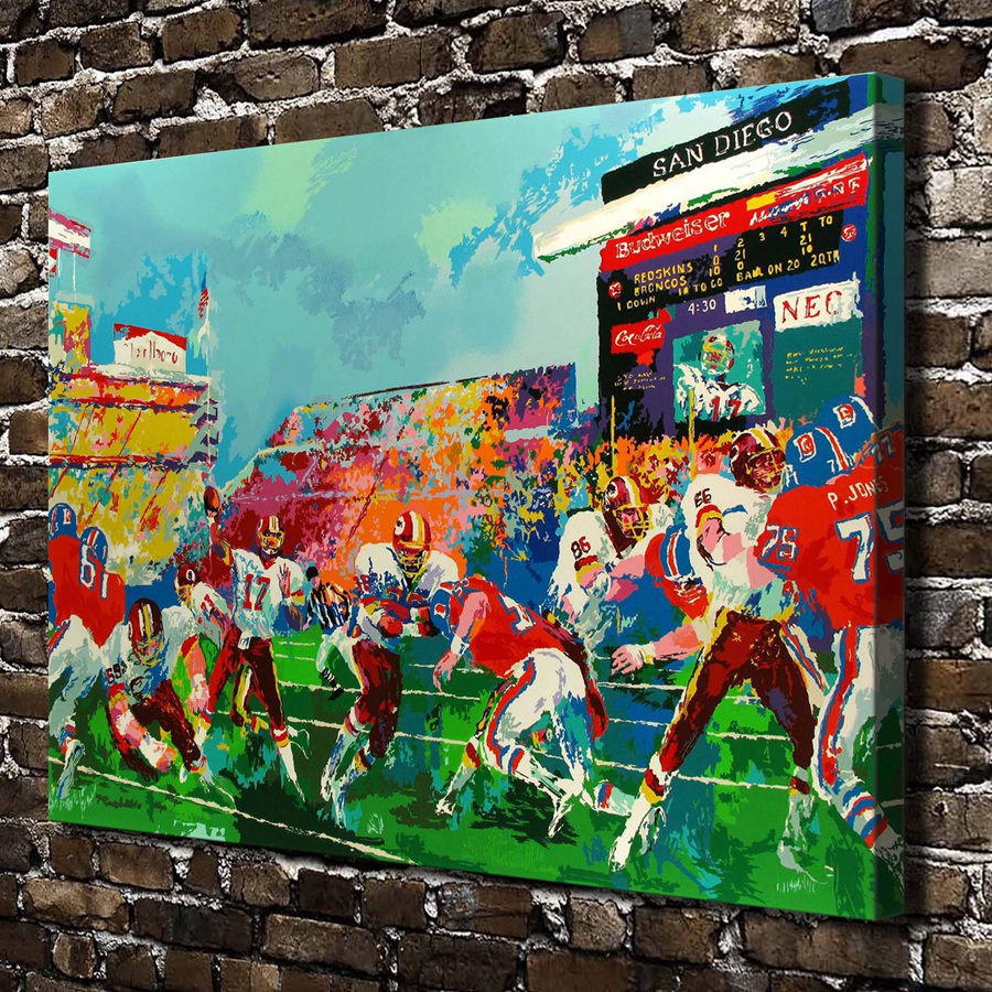 A1852 LeRoy Neiman Abstract Field athletes, HD Canvas Print Home decoration Living Room bedroom Wall pictures Art painting
