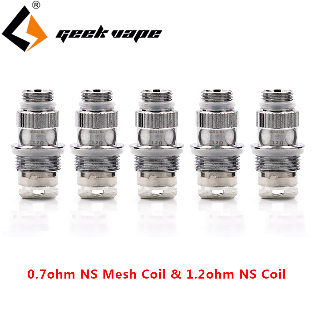 5pcs/pack Geekvape NS Coil 0.7ohm NS Mesh Coil & 1.2ohm NS SS316L Coil Vape Coil For Geekvape Frenzy Pod