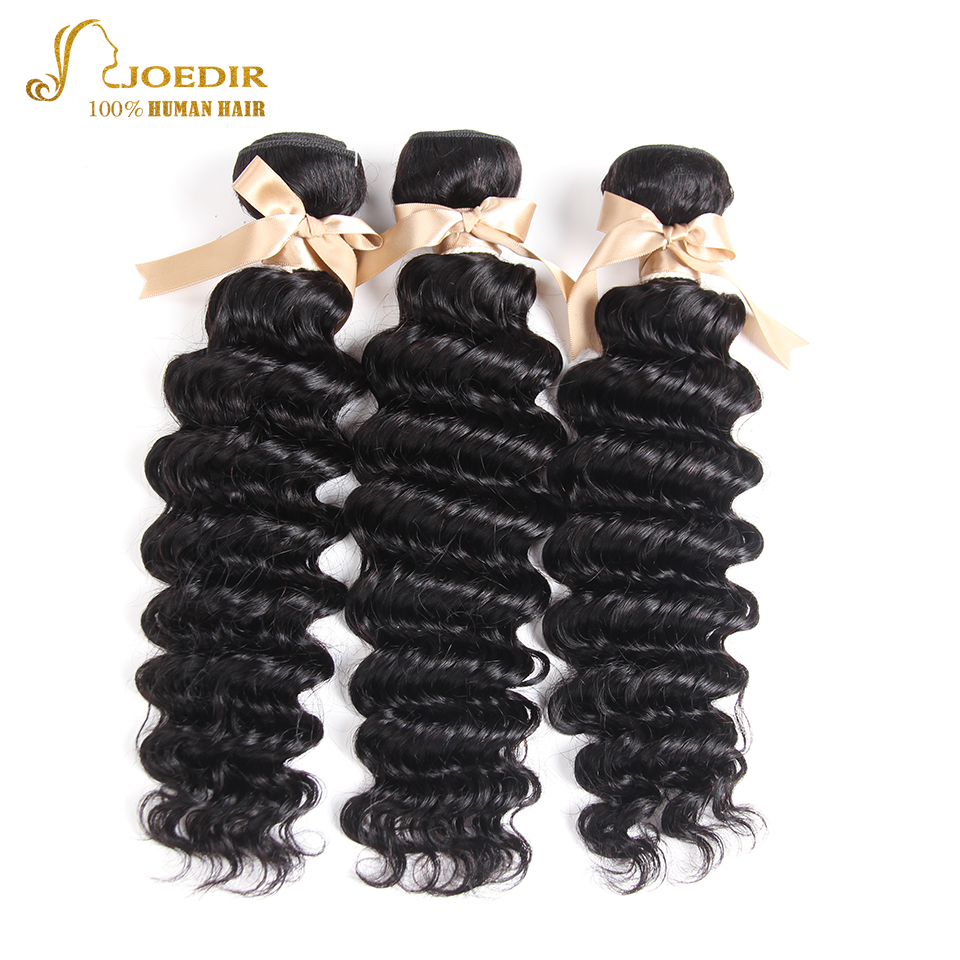 Joedir Hair 3pcs Deep Wave Peruvian Hair Weave Bundles 100% Human Hair Bundles 8-28inch Natural Color Non Remy Hair Extensions