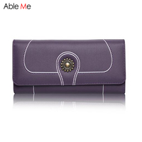 2017 Brand Genuine Leather Wallet Women Multi Functional Long Purses Office Lady Gifts High Capacity 3