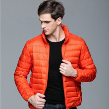 Men fashion Autumn winter warm down jacket pure color stand collar long sleeve high quality thin loose warm casual down coat