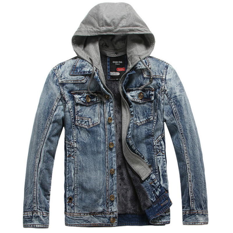 2018 font b Mens b font Warm font b Jeans b font Jacket False Two Pieces