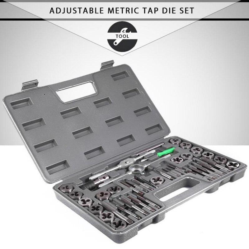 40 pçs ajustável torneira métrica morrer herramientas alta precisão ferramenta chave conjunto de ferramentas torneira métrica furo medidor rosca gereedschap