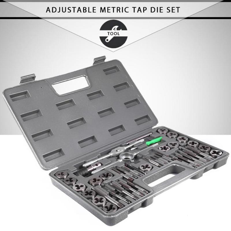 40pcs Adjustable Metric Tap Die Herramientas High Precision Ferramenta Wrench Tool Set Tap Metric Hole Thread Gauge Gereedschap 40pcs tap