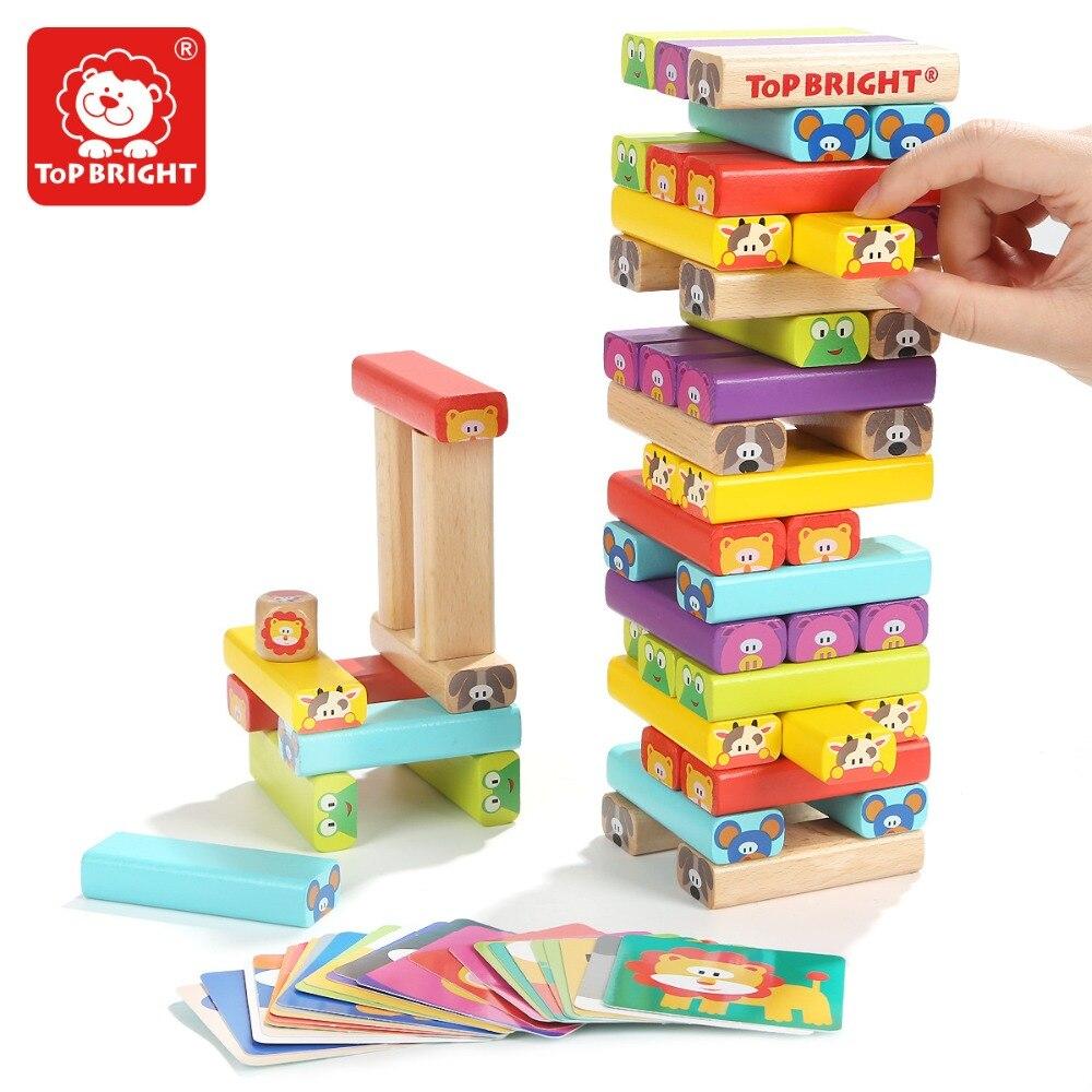 Haut LUMINEUX enfants en bois animal de bande dessinée jeu jenga jouet famille jeux blocs de construction jouets interaction de pompage empilage jouets 3Y +