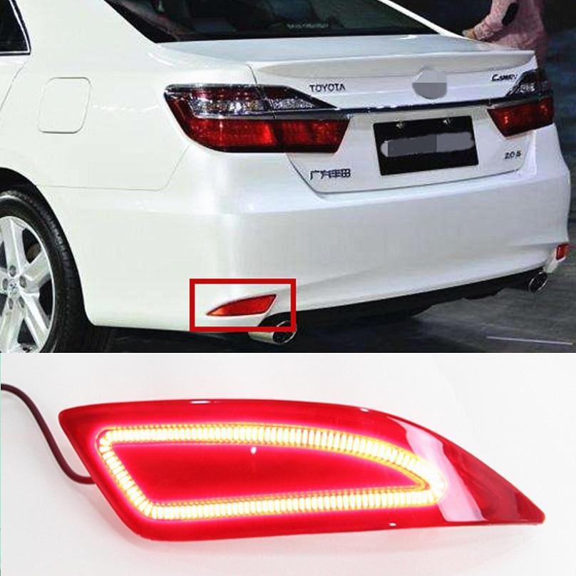 Car Flashing 2 pcs For Toyota Camry 2015 2016 LED car DRL Rear Bumper tail light