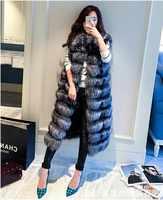 2018 S XXXL fourrure naturelle manteau de fourrure longue section de mode hiver manteau manteau décontracté femmes coréen hit couleur gilet épais chaleur
