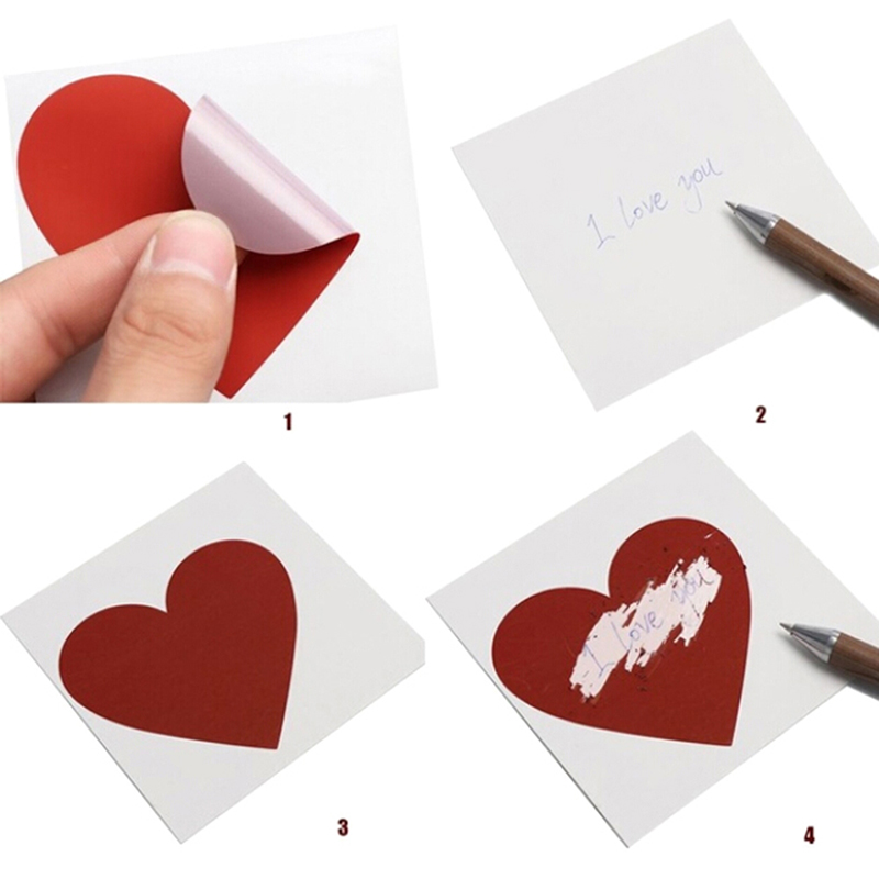 8Pcs/set DIY Heart Scratch Coating Sticker Note Love Letter Scratch Card Decoration Label Multifunction Surprise Lover Gift