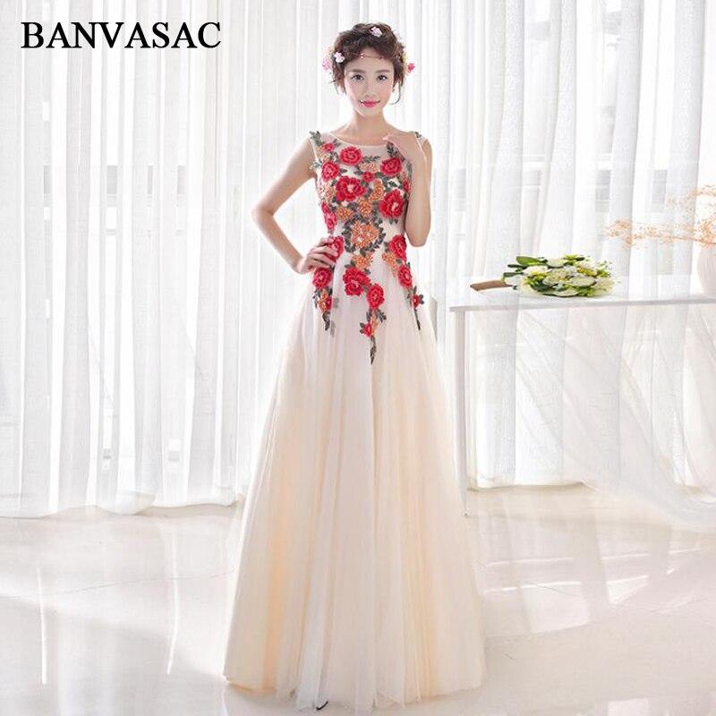 BANVASAC 2018 O cou fleurs broderie une ligne longues robes de soirée dentelle Appliques fête dos ouvert robes de bal