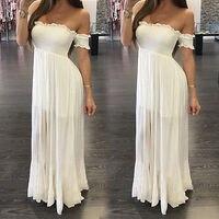 קיץ חדש ארוך שיפון הערב רשמי כדור המפלגה שמלת נשף לבן שרוול קצר סלאש צוואר שמלה