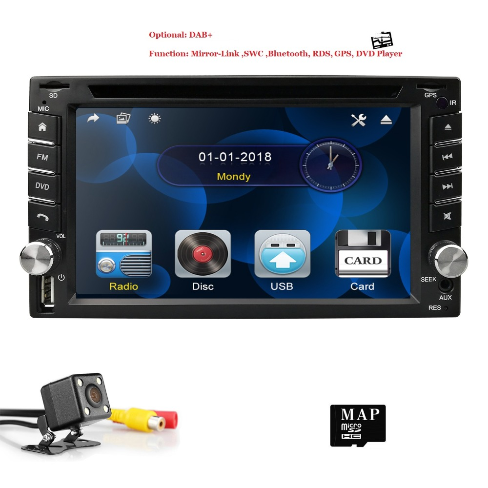 New!Double Din 6.2Inch Car DVD Player GPS Universal Stereo Radio BT USB Mirror link RDS 1080P+Free Map SD card+Free Rear camera