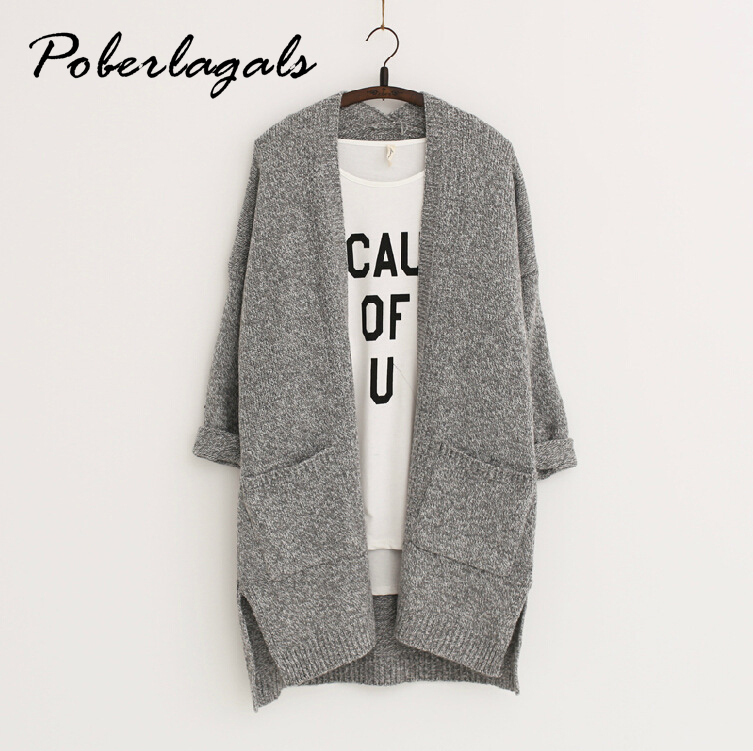 2017 Long Women Cardigans Autumn Winter Brand Long Style Knitted with Pockets Sweaters European Style